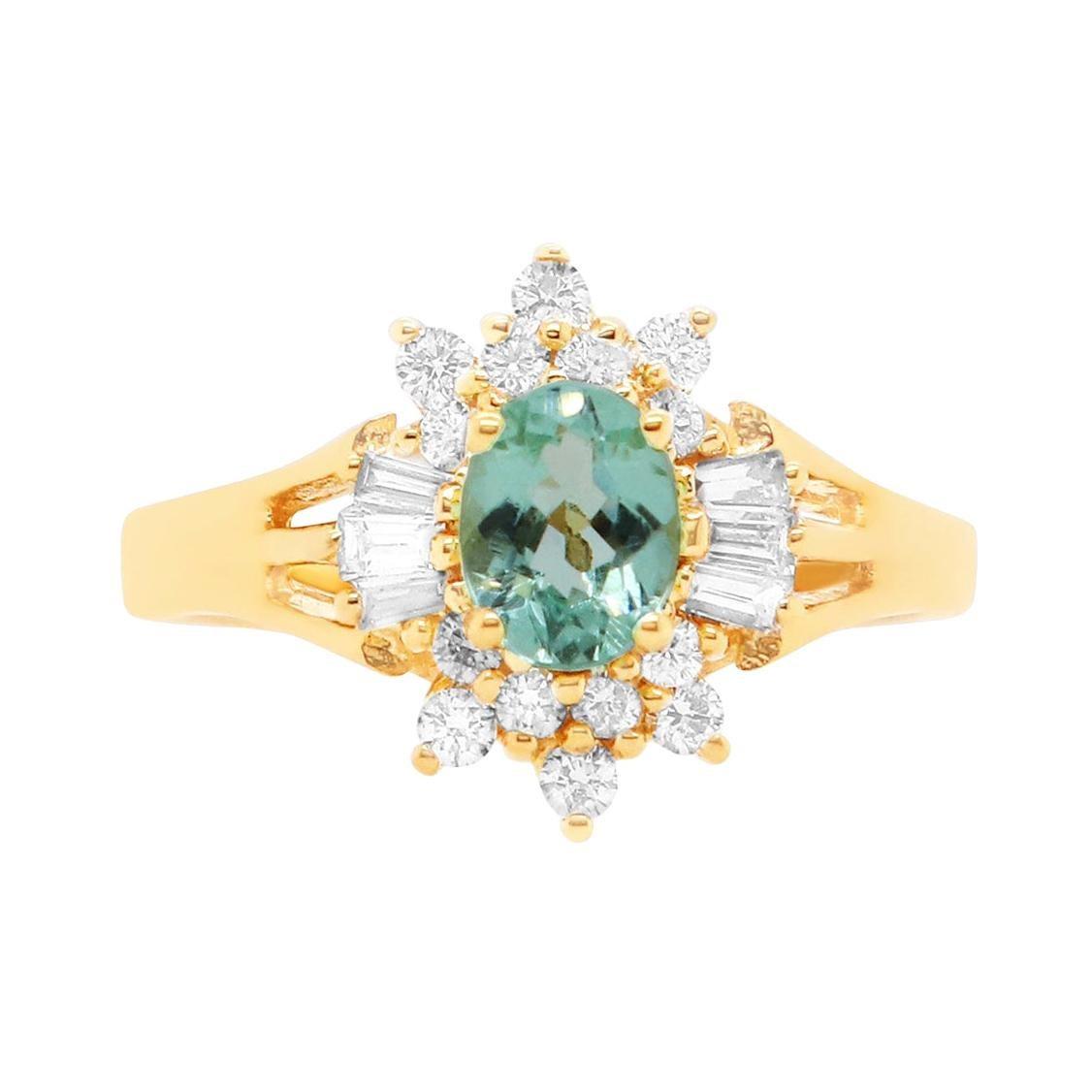 Oval Paraiba Tourmaline Baguette Diamond Fancy Engagement Ring Yellow Gold 14K