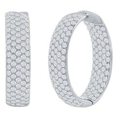 Oval Pavé Diamond Hoop Earrings 5.50 Carat
