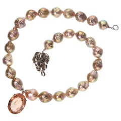 Gemjunky Oval Peach Morganite Pendant on Pearl Necklace