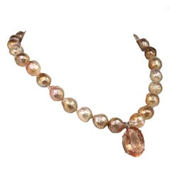 Oval Peach Morganite Pendant on Pearl Necklace June Birthstone