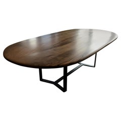 Oval 'Pebble Edged' Walnut Table on Black Waxed Steel Legs by Jonathan Field