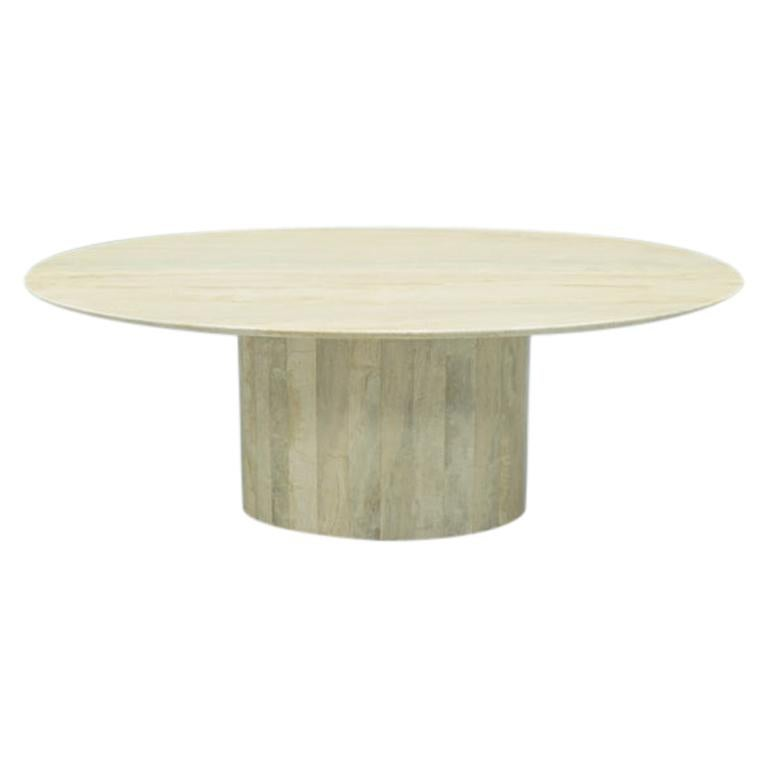 Oval Pedestal Travertine Coffee Table, Italy, 1970s