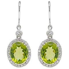 Oval Peridot and Diamond 18 Carat White Gold Drop Earring
