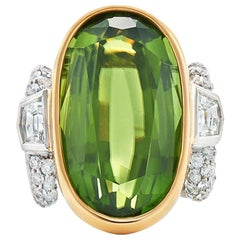 Fred Leighton Oval Peridot and Diamond Cocktail Ring