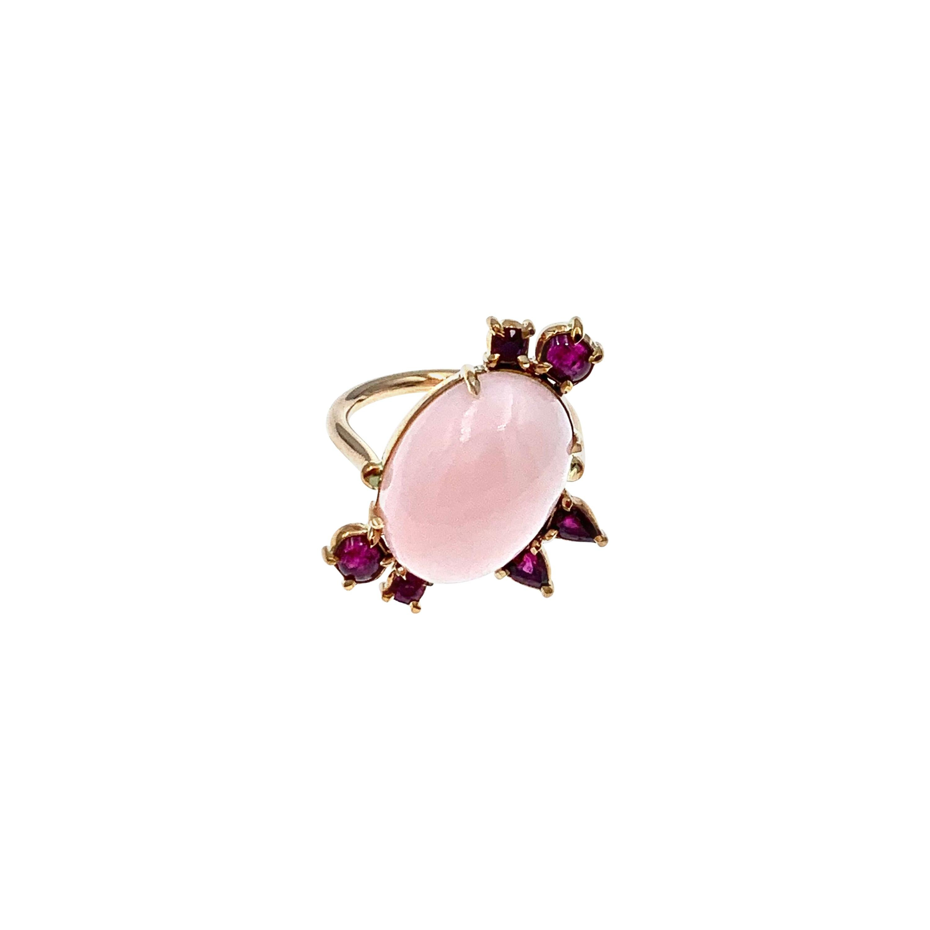 Oval Peruvian Pink Opal Cabochon with Ruby Accents Rose Gold Cocktail Ring