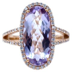 Oval Pink Kunzite and Diamond Ring, 4.88 Carat Tapestry Cut