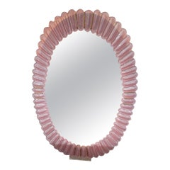 Oval Pink Murano Glass Mirrors with Brass