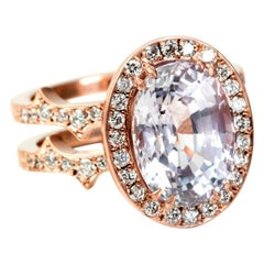 Sylva & Cie Oval Pink Sapphire and Diamond Ring with Halo and Double Shank