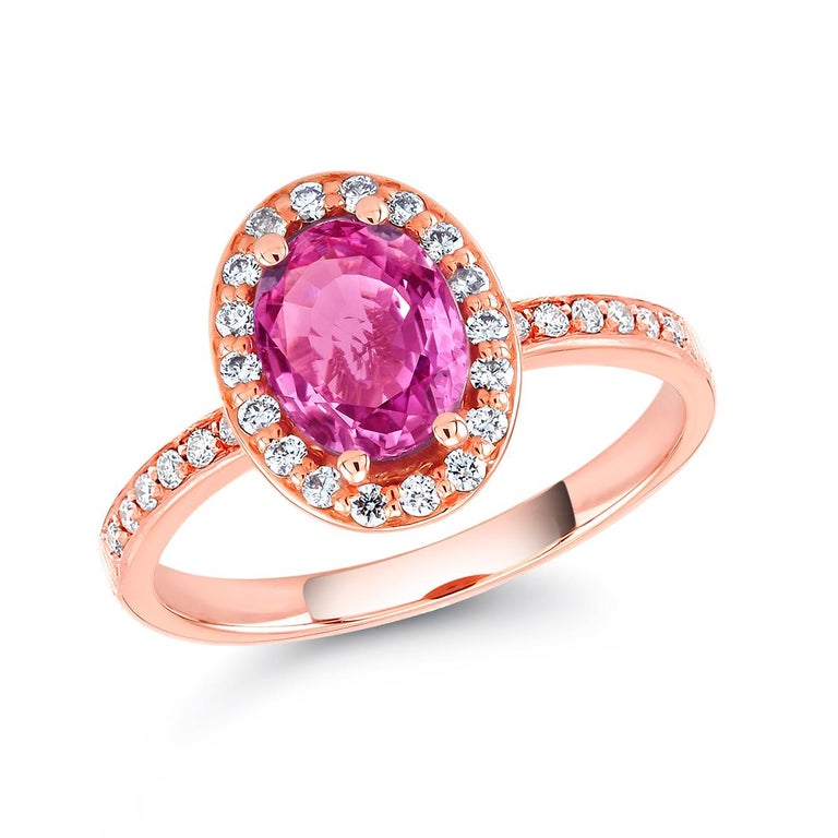 Oval Cut Oval Pink Sapphire and Diamond Rose Gold Cocktail Ring Weighing 1.75 Carat For Sale