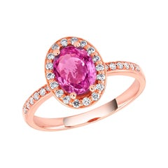 Oval Pink Sapphire and Diamond Rose Gold Cocktail Ring Weighing 1.75 Carat