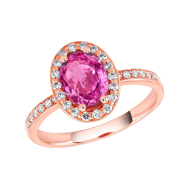 Oval Pink Sapphire and Diamond Rose Gold Cocktail Ring Weighing 1.75 Carat For Sale