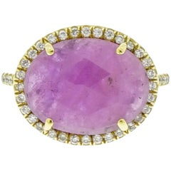 Oval Pink Sapphire and Diamond Yellow Gold Ring