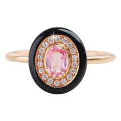 Oval Pink Sapphire Black Enameled with Pave Diamond Setting Ring