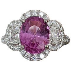 Oval Pink Sapphire/Oval Diamond 3-Stone Platinum Ring