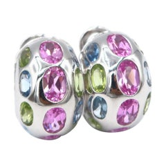 Oval Pink Sapphire Topaz and Peridot 18 Karat Gold Huggies Hoops Omega Backings