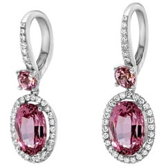Oval Pink Spinel Diamond 18 Karat White Gold Drop Earring
