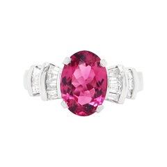 Oval Pink Tourmaline and Baguette Cut Diamond Dress Platinum Ring