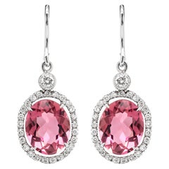 Oval Pink Tourmaline and Diamond 18 Carat White Gold Drop Earrings