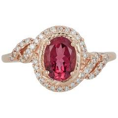 Oval Pink Tourmaline Cocktail Filagree Diamond Halo Ring 14 Karat Rose Gold