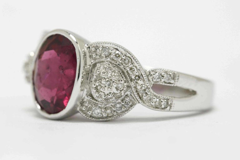 Modern Oval Pink Tourmaline Diamond Engagement Ring Gemstone Vintage Rubellite 18K Gold For Sale