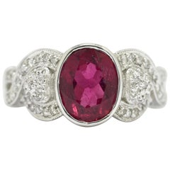Oval Pink Tourmaline Diamond Engagement Ring Gemstone Vintage Rubellite 18K Gold