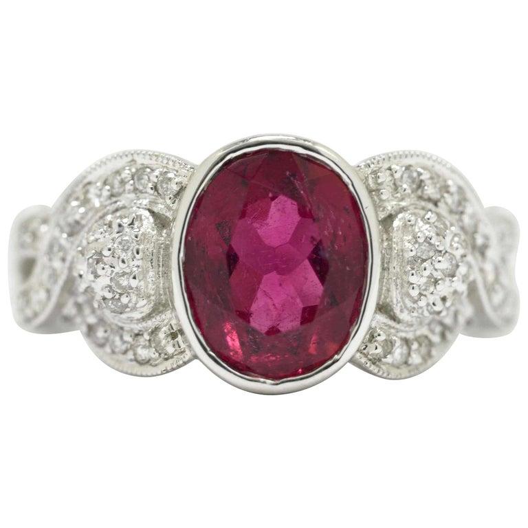 Oval Pink Tourmaline Diamond Engagement Ring Gemstone Vintage Rubellite 18K Gold For Sale