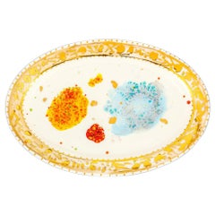 Oval Plate Gold Hand Painted Coralla Maiuri Modern New Tableware