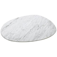 Oval plate in White Carrara Marble Handcrafted in Italy design by Boucquillon