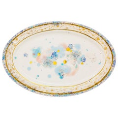 Oval Platter Gold Hand Painted Plate Coralla Maiuri Modern New Tableware