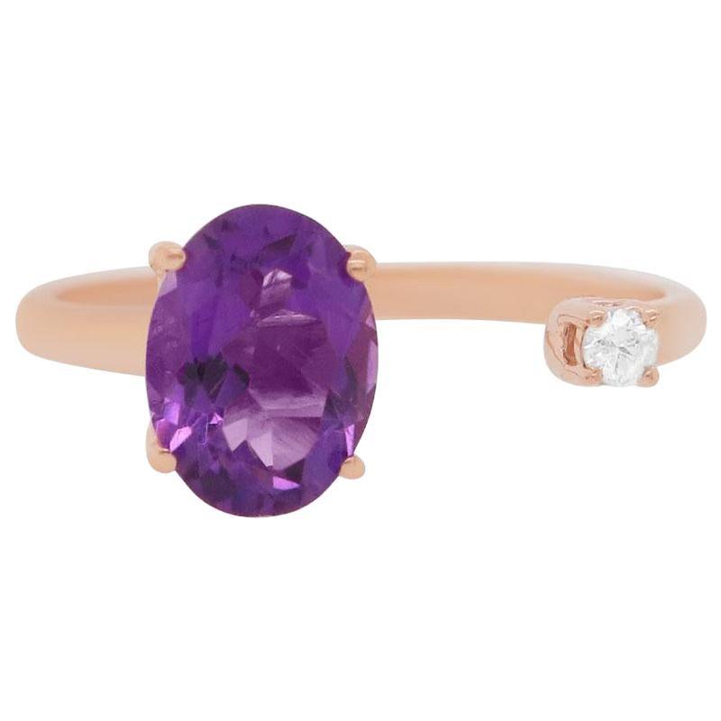 Oval Purple Amethyst 14 Karat Rose Gold Round Diamond Toi et Moi Ring