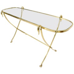 Oval Racetrack Top Shape Solid Brass Console Table with Swan Motive Finials