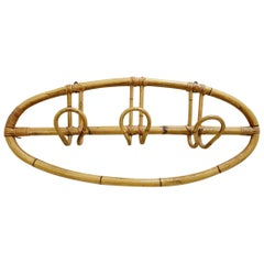 Oval Rattan Coat Rack, 1960s