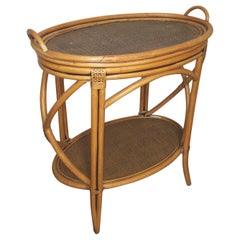 Oval Rattan Tray Top Table, 1960's