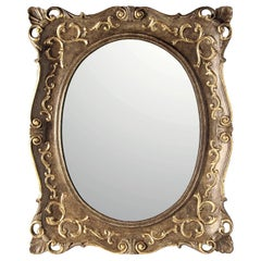 Oval-Rectangular Mirror with Gold Leaf