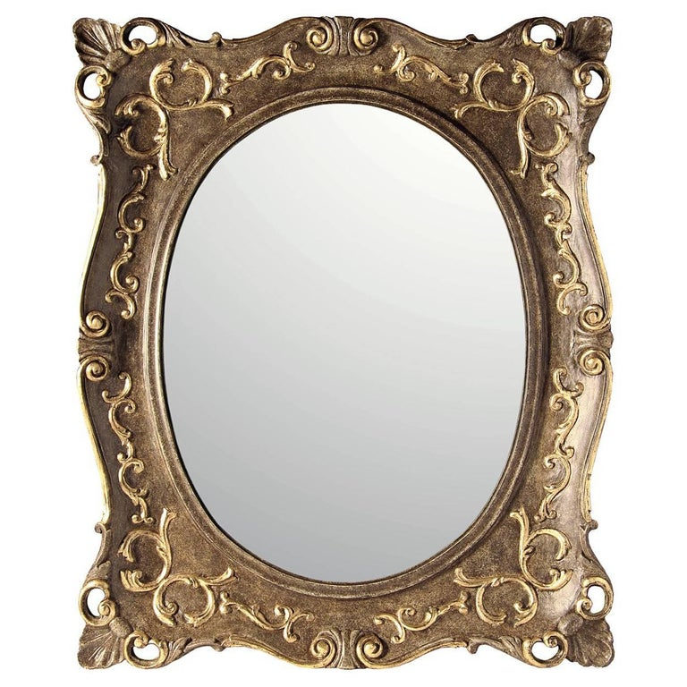 Oval-Rectangular Mirror with Gold Leaf For Sale