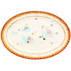 Oval Platter 41x28cm Gold Hand Painted Coralla Maiuri Modern Plate New Tableware