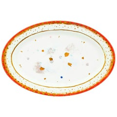 Oval Platter 36x24 Gold Hand Painted Coralla Maiuri Modern Plate New Tableware
