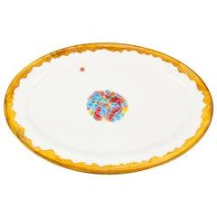 Oval Rim Platter Gold Hand Painted Coralla Maiuri Modern New Tableware