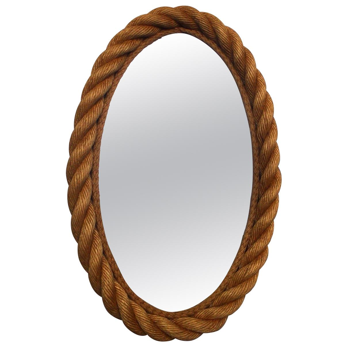 Oval Rope Mirror Audoux Minet, circa 1960