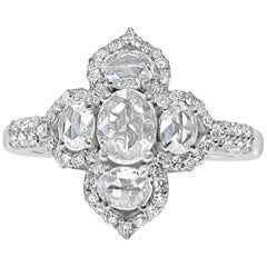 Oval Rose Cut Diamond and Round Brilliant Diamond Ring