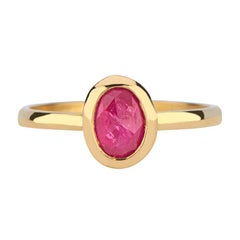 Oval Rose Cut Ruby Bezel Ring