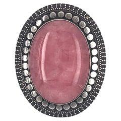 Oval Rose Quartz Silver Pin Brooch Pendant