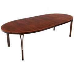 Oval Rosewood Dining Table and Two Leave by Arne Vodder for Sibast, Excellent