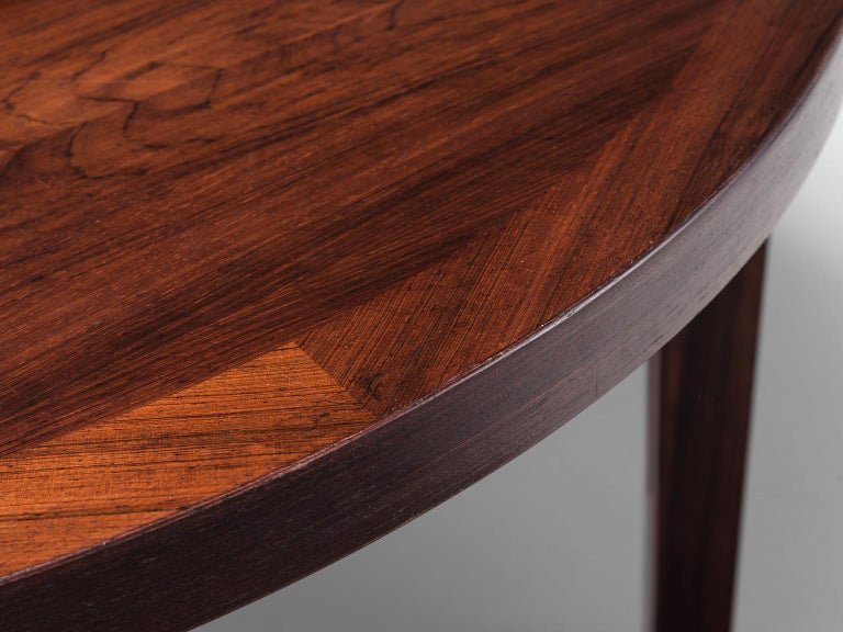 Mid-20th Century Oval Rosewood Dining Table with Brass Details For Sale