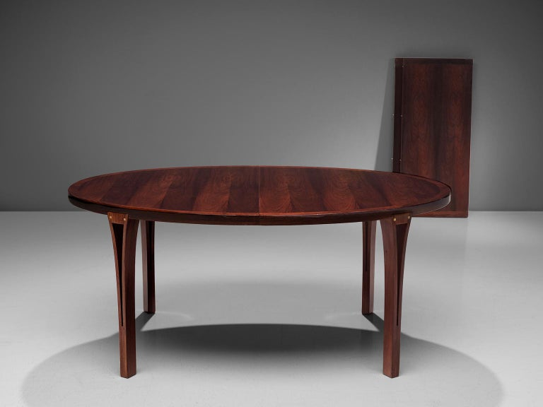 Oval Rosewood Dining Table with Brass Details For Sale 2