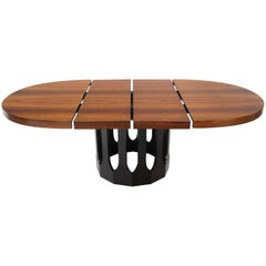 Oval Rosewood Ebonized Solid Mahogany Base Dining Table by Harvey Probber 2 Leaf