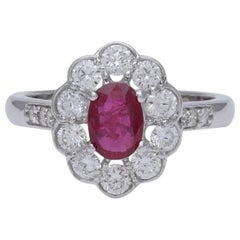 Oval Ruby and Diamond Classic Engagement Ring in 18 Karat White Gold