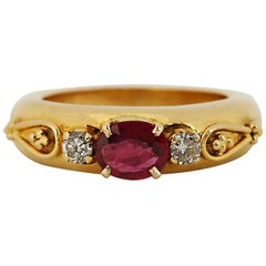 Vintage Oval Ruby and Diamond Gold Ring