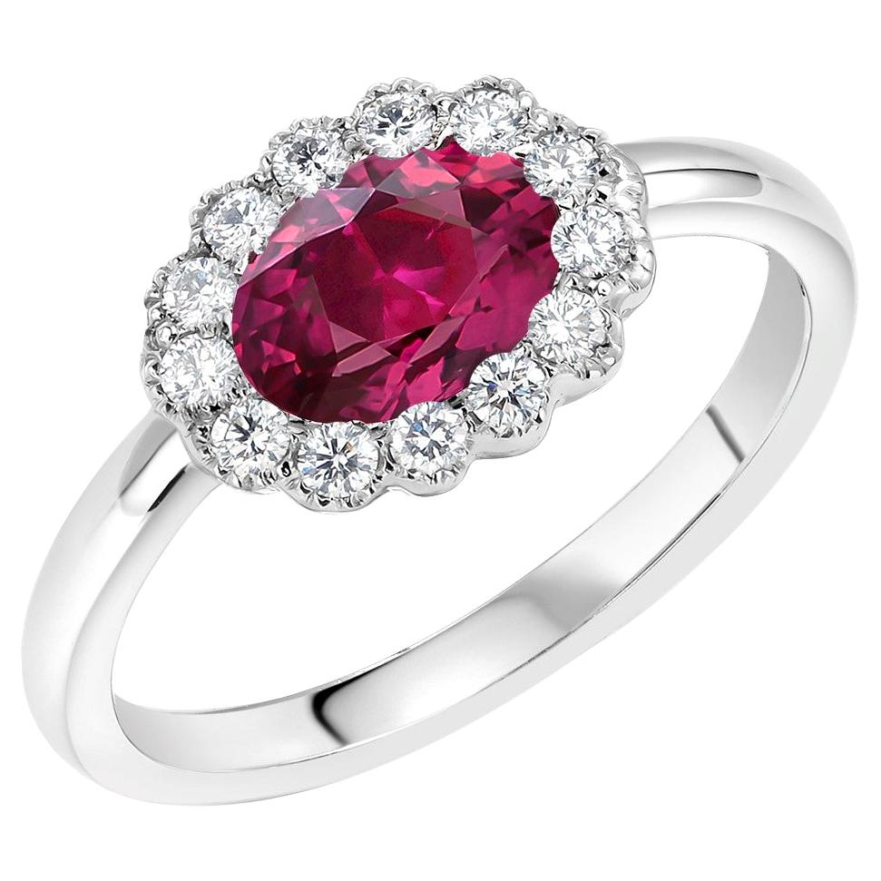 Oval Ruby and Diamond White Gold Cocktail Cluster Ring