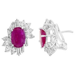 Oval Ruby and Mixed Diamond Cut Earrings, 5.51ct of Rubies and 2.40ct of Diamond